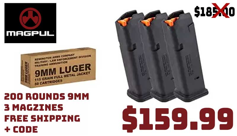 200Rds 9mm 115Gr Ammo +3X Magpul Glock Magazines $159.99 FREE S&H CODE
