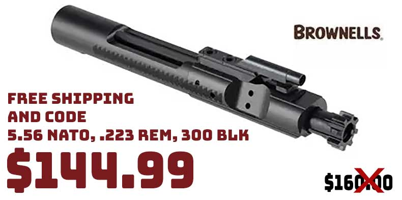 Brownells AR15 Bolt Carrier Group 5.56X45mm Nitride MP $144.99 FREE S&H CODE