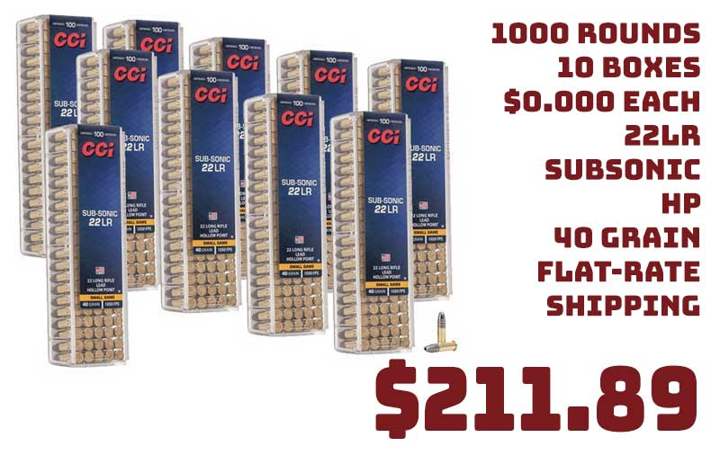 1000 Rnds CCI 22LR Subsonic HP 40Gr 1050FPS Ammo $211.89 Flat Rate S&H