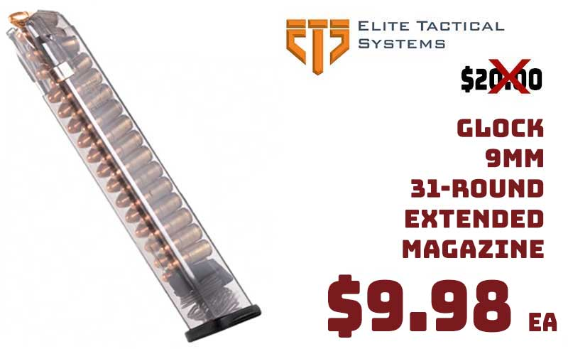 ETS Glock 9mm 31 Round Polymer Magazines $9.98ea Limited Inv