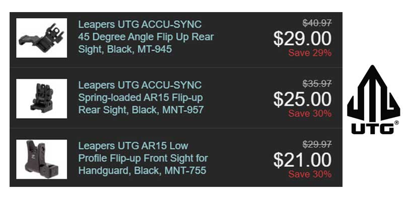Leapers UTG Weapon Sight Starting at $21.00 30% OFF