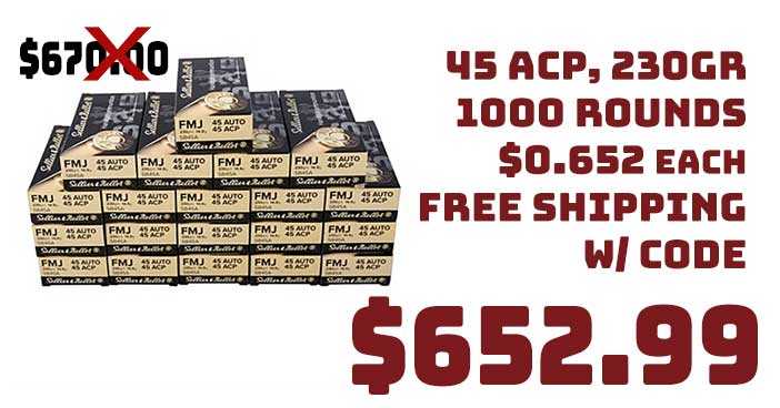 Sellier & Bellot 45 ACP 230GR 1000 Round Case $259.99 FREE S&H
