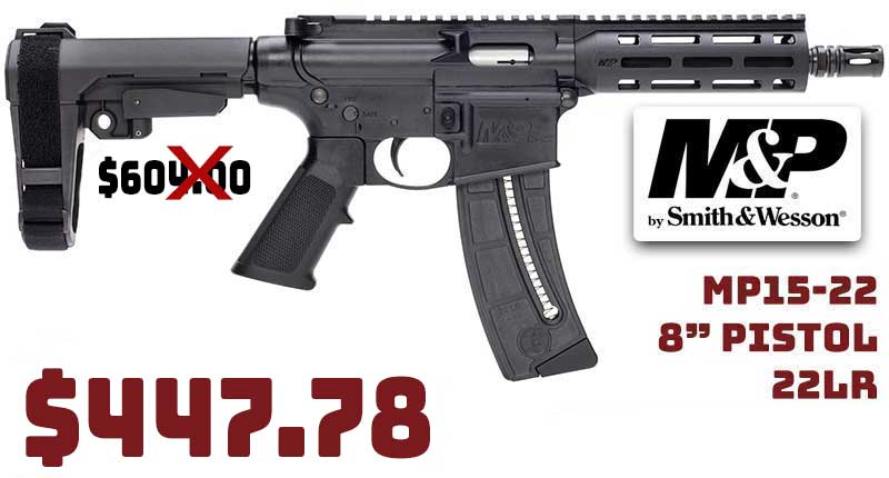 Smith & Wesson MP15-22 8″ Pistol 22LR $447.78 FREE Shipping