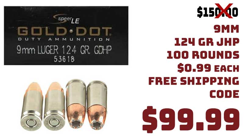 Speer Gold Dot 9mm 124Gr Jacketed Hollow Point 100rnds $99.99 FREE S&H