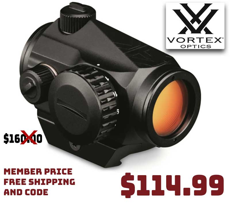 Vortex Crossfire 2 MOA Red Dot Sight $114.99 FREE S&H Member Price CODE