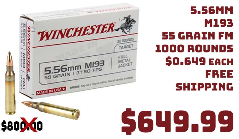 Winchester 5.56mm M193 55 FMJ Lake City Ammo 1000Rds $649.99 FREE S&H