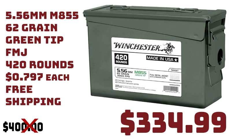 Winchester 5.56mm M855 FMJ Lake City 420Rds Green Tip $334.99 FREES&H