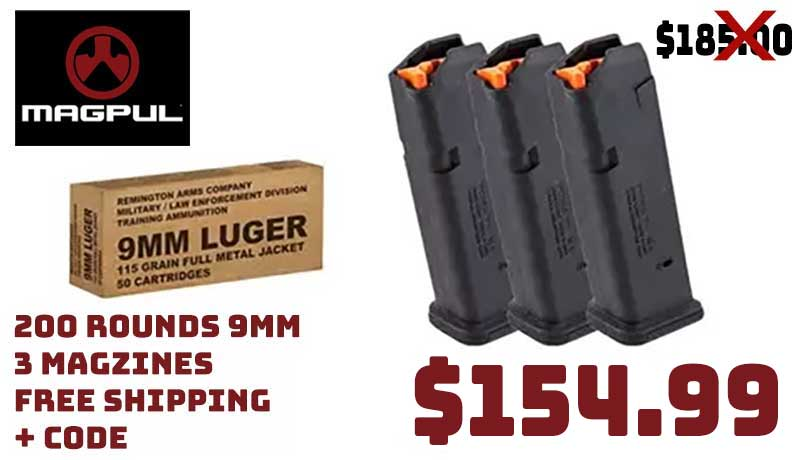 200Rds 9mm 115Gr Ammo +3X Magpul Glock Magazines $154.99 FREE S&H CODE