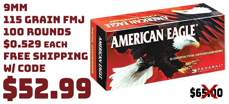 Federal American Eagle 9mm 115Grn FMJ in 100rnds $52.99 FREE S&H CODE