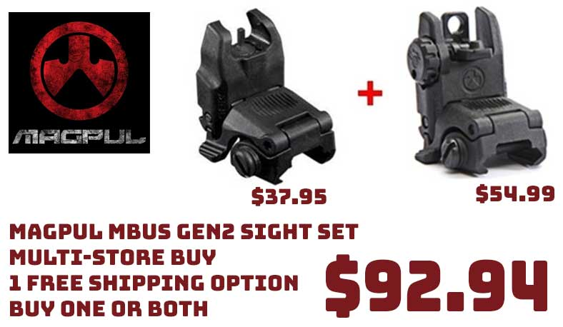 Magpul MBUS Gen2 Front & Rear Sight $92.94, Multi-Store FreeS&H Opts