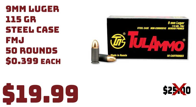 TulAmmo 9mm Luger 115 Grain FMJ Steel Ammunition 50 Round Boxes $19.99