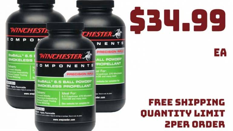Winchester Staball 6.5 Smokeless Powder 1LB $34.99 FREE S&H