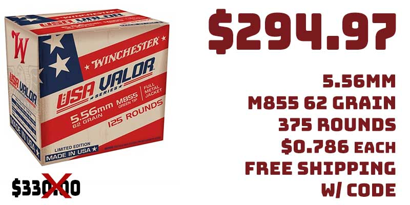 Winchester USA Valor 5.56mm M855 62Gr 375Rnds $294.97 FREE S&H CODE