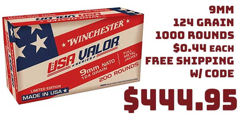 1000 Rounds Winchester USA Valor 9mm 124gr Luger Ammo $444.95