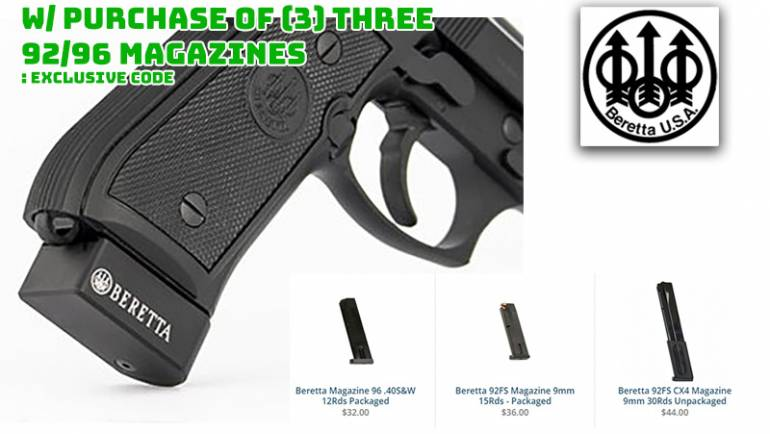 FREE Magazine Extension When You Buy 3 Beretta 92/96 Gun Mags, FREE S&H