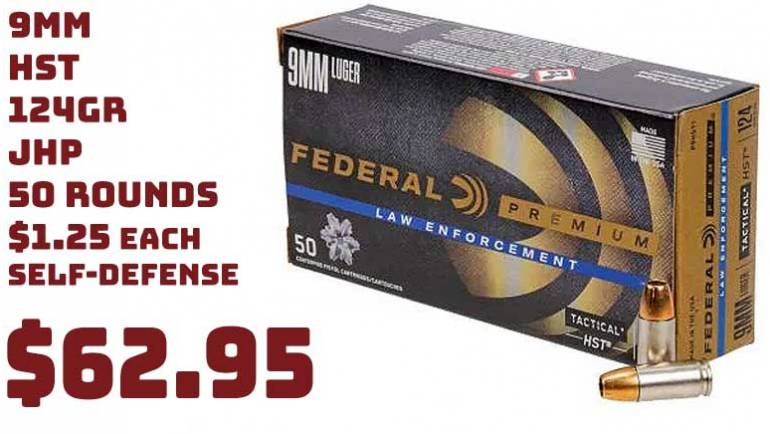 50rnds Federal Personal Defense HST 9mm 124Gr JHP Ammo $62.99