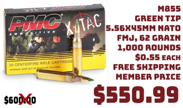 1000 Rounds PMC X-Tac M855 Green Tip, 5.56x45mm NATO Free S&H $550.99