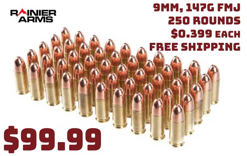 Rainier Remanufactured 9mm 147gr Subsonic FMJ 250rnd $99.99 FREE S&H
