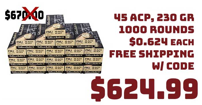 Sellier & Bellot 45 ACP 230GR 1000 Round Case $624.99 FREE S&H