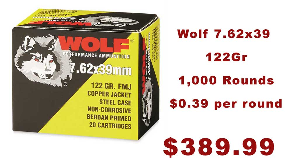 1,000 Rounds Wolf 7.62×39 122gr FMJ Ammo $389.99