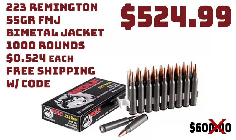 1000rnds Wolf, .223 Rem, 55 Grain, FMJ Ammo, $524.99 FREE S&H CODE