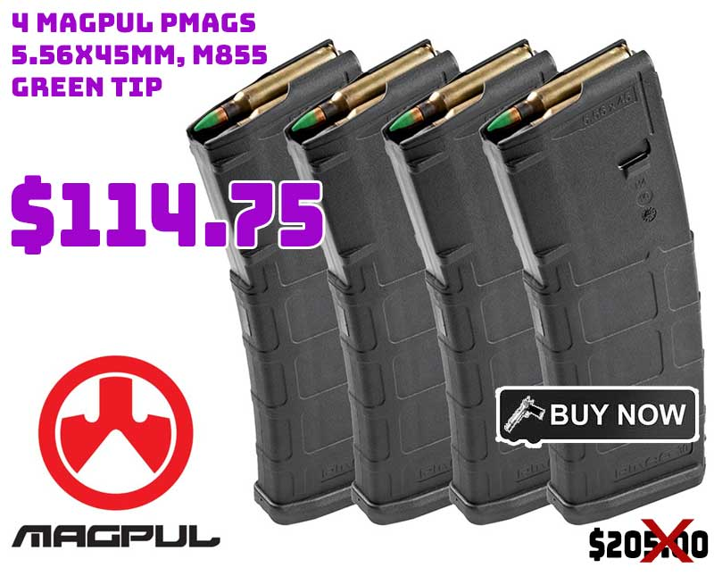 4 Magpul PMAGS & 120 Rounds of PMC 5.56x45mm M855 Green Tip $114.75