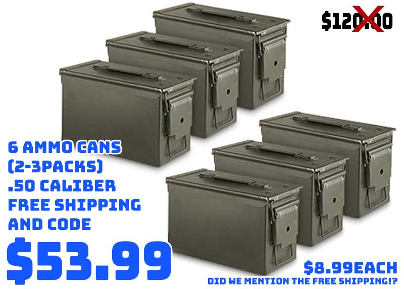 6pc .50 Caliber Ammo Cans just… $53.99 FREE S&H w/ CODE