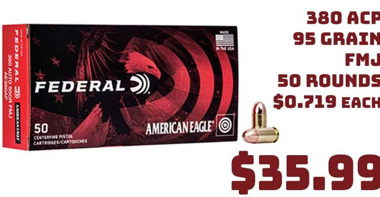 Federal Ammo 380 ACP 95Gr Full Metal Jacket 50 Rounds $35.99