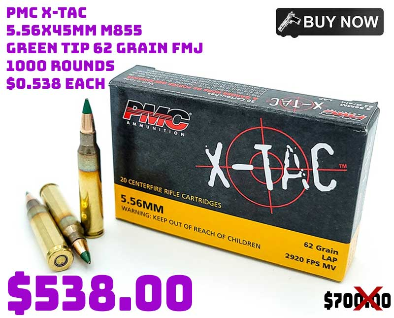 PMC X-TAC 5.56x45mm M855 Green Tip 62 Grain FMJ 1000 Rounds $538.00