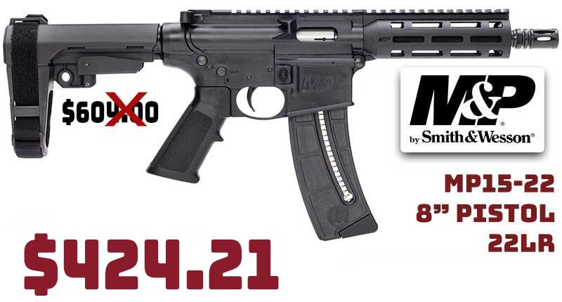 Smith & Wesson MP15-22 8″ Pistol 22LR $424.21 FREE Shipping