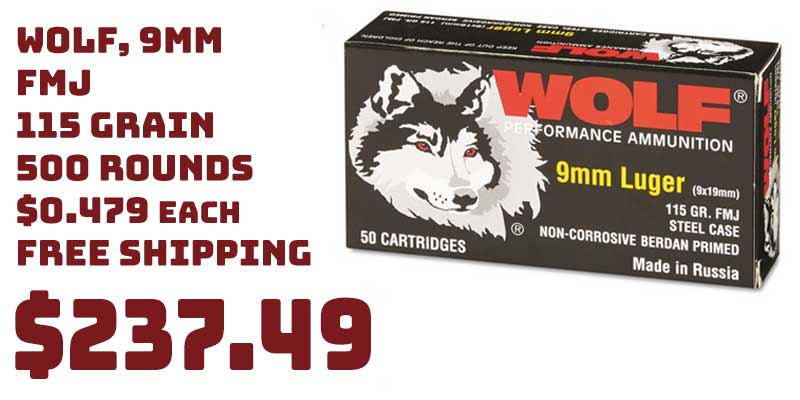 500 Rounds Wolf, 9mm, FMJ, 115 Grain, Ammo Member Price $237.49