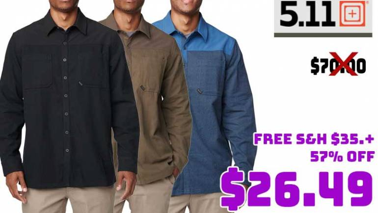 5.11 Tactical Ascension Long Sleeve Shirt $26.49 57% OFF