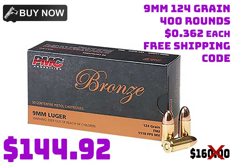 PMC Bronze 9mm Luger 124grain 300rnds $144.92 FREE S&H CODE