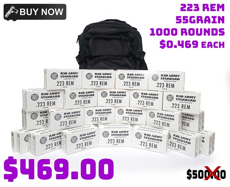 Red Army 223 Rem 55Grn FMJ 1,000 Rounds & FREE Backpack $469.00