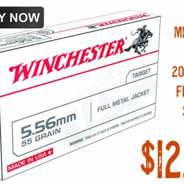 Winchester Ammo 5.56 M193 55Gr FMJ Ammunition 20 rounds $12.99